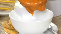 Serving tomato bisque Stock Footage