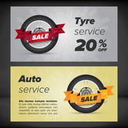 Banner with tyre concept Stock Illustration