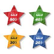 Summer sale star stickers Stock Illustration