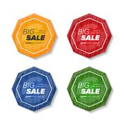 Summer sale polygonal stickers Stock Illustration