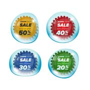 Summer sale circle stickers in a bubble Stock Illustration