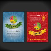 Leaflet design with chart and ribbon - stock illustration