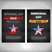 Memorial day poster with flag - stock illustration