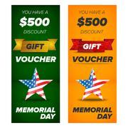 Gift voucher design, Memorial day sale Stock Illustration