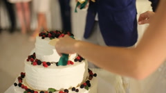 The bride and groom cut the wedding cake knife , can see the newlyweds hands - stock footage