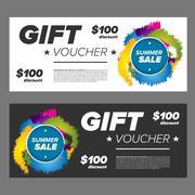 Summer sale gift voucher - stock illustration