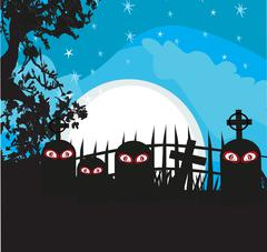 Halloween landscape with cemetery - stock illustration