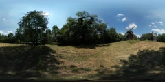 360Vr Video Mills in a Field Dry Grass Hay Old Village on a Horizon Courtyard Stock Footage