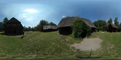360Vr Video Tourist Among Cottages Old Village Man is Walking Observing Rustic Stock Footage