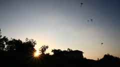 The colorful kites at sunset Stock Footage