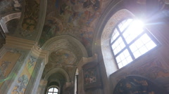 Schedule beautiful walls and ceiling inside the church Stock Footage