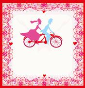 wedding invitation with bride and groom riding tandem bicycle - stock illustration