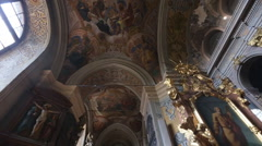 Schedule beautiful walls and ceiling inside the church - stock footage