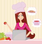 Housewife looking in laptop during dinner Piirros