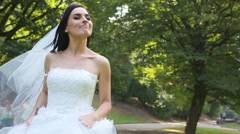 Beautiful Bride in Nature Forest Love Concept Background Stock Footage