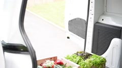 Cheerful farmer delivering fresh vegetables - stock footage