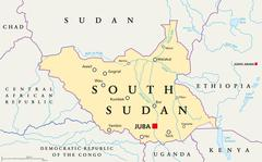 South Sudan Political Map - stock illustration