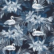 Indigo tropical summer seamless pattern with flamingo birds and exotic flowers - stock illustration