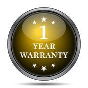 1 year warranty icon. Internet button on white background.. - stock illustration