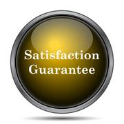 Satisfaction guarantee icon. Internet button on white background.. - stock illustration