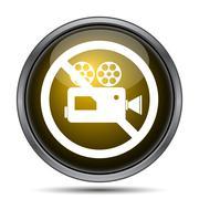 Forbidden video camera icon. Internet button on white background.. - stock illustration