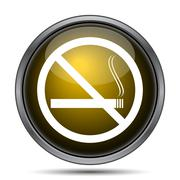 No smoking icon. Internet button on white background.. - stock illustration