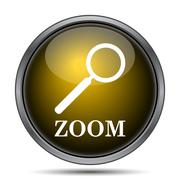 Zoom with loupe icon. Internet button on white background.. - stock illustration