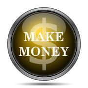 Make money icon. Internet button on white background.. - stock illustration
