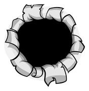 Breakthrough Paper Hole Stock Illustration