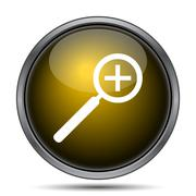 Zoom in icon. Internet button on white background.. - stock illustration