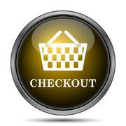 Checkout icon. Internet button on white background.. Stock Illustration