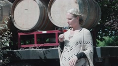 Woman Drinks Wine Barrels Truck Med Stock Footage