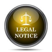 Legal notice icon. Internet button on white background.. - stock illustration