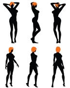 Naked sexy girls silhouette set - stock illustration