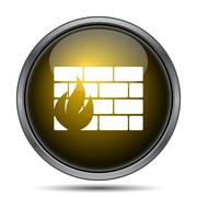 Firewall icon. Internet button on white background.. - stock illustration
