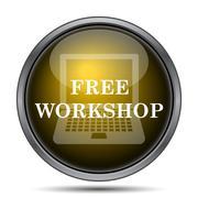 Free workshop icon. Internet button on white background.. - stock illustration
