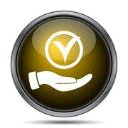 Tick with hand icon. Internet button on white background.. Stock Illustration