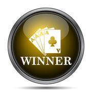Poker winner icon. Internet button on white background.. - stock illustration