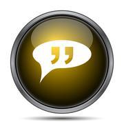 Double quotes icon. Internet button on white background.. - stock illustration
