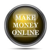 Make money online icon. Internet button on white background.. - stock illustration