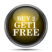 Buy 2 get 1 free offer icon. Internet button on white background.. - stock illustration