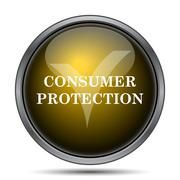 Consumer protection icon. Internet button on white background.. - stock illustration