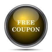 Free coupon icon. Internet button on white background.. - stock illustration