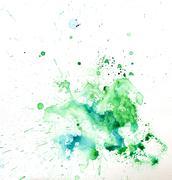 Paint watercolour splatter blue. Watercolors spot blotch isolated Piirros