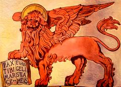 The winged lion of St. Mark's Republic, Venice, Italy. - stock photo