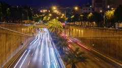 Night traffic cars on the highway. Barcelona, Spain. Timelapse - stock footage