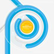 Blue circle ribbon for info graphics. - stock illustration