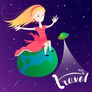 Little girl flying on Earth planet - concept of global travel - stock illustration