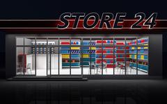 Illustration of a 24-hour store at night Stock Illustration