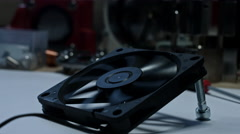4k technical composition of a fan starting to work Stock Footage